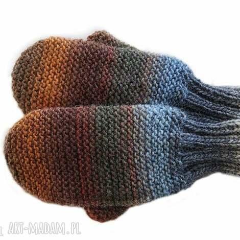 wełniane rękawiczki - mitenki, jednopalczaste, na drutach