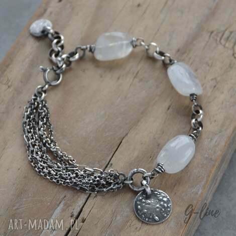 kamień księżycowy srebrna bransoletka, księżycowy, srebro