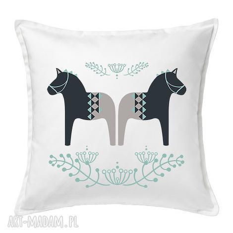 poduszka folkowe koniki 50x50, folkowe, scandi, bawełna, duże, prezent