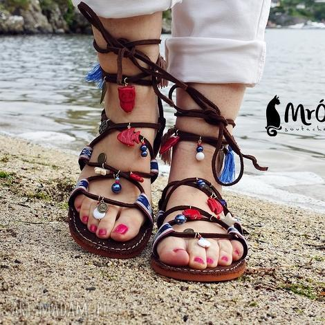 sandały rzymianki zdobione ręcznie, rzymianki, sandały, greckie