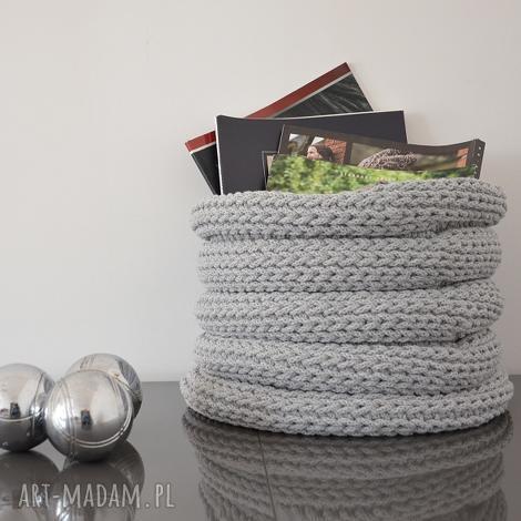 kosz ze sznurka bawełnianego - duży szary jasny harmonjka, kosz, naszydełku