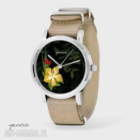 zegarek, bransoletka - jungle flowers beżowy, nato, bransoletka, nato