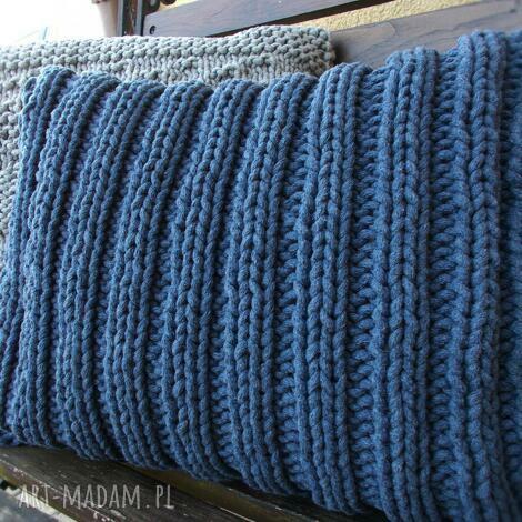ściągaczowa jeansowa poduszka, manufaktura, sznurek, jeans, ściągacz, druty