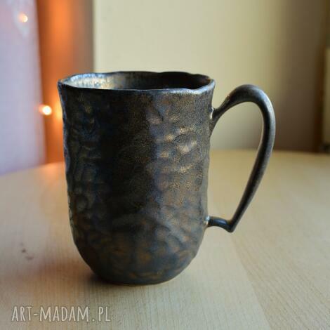 kubki kubek ceramiczny rzeźbiony rustykalne złoto 300 ml, kubek