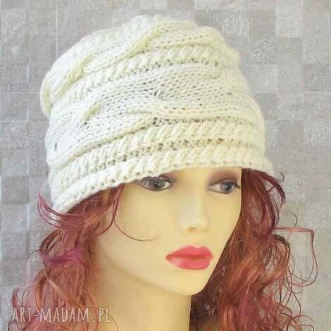 AlbaDesign, czapka zimowa ecru kobieta akcesoria zimowe, fashion, style