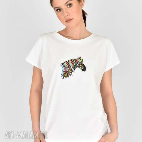 koszulki tiszert biały malowany kolorowa zebra, koszulka malowana, dres kolorowy