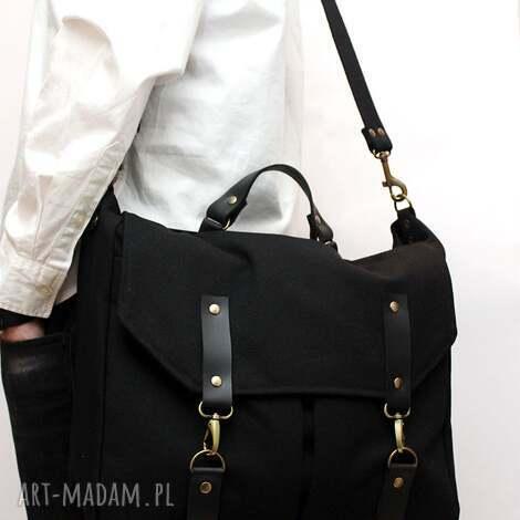 torba czarna unisex, karabinki, unikalne