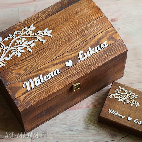 biala konwalia zestaw pudełek z gałązkami, pudełko, eko, obrączki, drewno, rustykalne