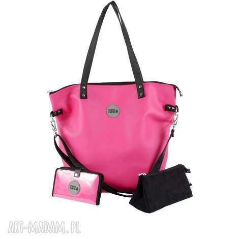 a6ca68d4447fa podróżne zestaw fuksja black torba worek xl, portfel, kosmetyczka, torba,  kosmetyczka