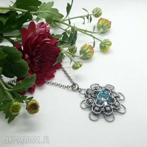 wisiorki medalion chainmaille z kryształem - stal szlachetna