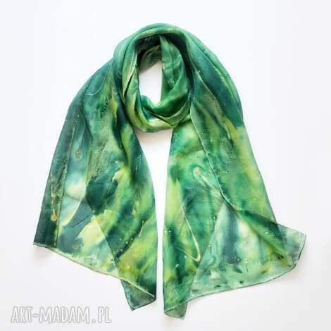 jedwabny malowany szal - zielona otchłań - jedwabny szal, jedwab, szalik