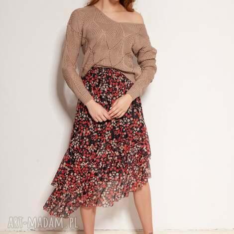 spódnica z siateczki falbaną - sp130 czerwony, midi, na lato