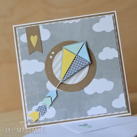 kartka z latawcem, latawiec roczek, urodzinowa, letnia, wiosenna