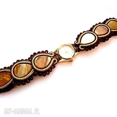 zegarek sutasz z masą perłową w brązie, kremie i złocie, sutasz, masa, perłowa, filc
