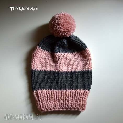 czapka pink-gray - czapka, dziecko, na-głowę, cap, wełniana, dla-dziecka