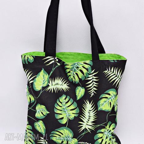 torba na zakupy shopperka liście monstera palmy jasnozielona podszewka