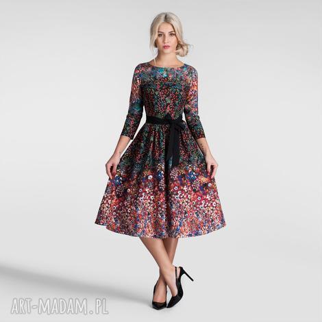 sukienka marie 3/4 midi celestia, sukienka, midi, rozkloszowan, ciemna, pasek