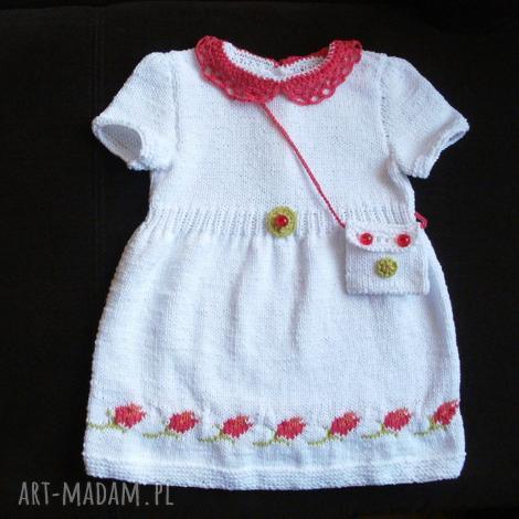 sukienka tulipany, rękodzieło, włóczka, sukienka, torebka, bawełna