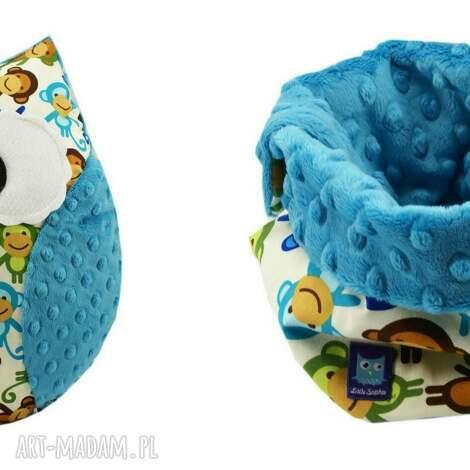 komplet na prezent, wzór maŁpki - poduszka, sowa, sowy, małpki, małpka