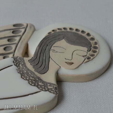 anioł ceramiczny - vela, anioł, płasorzeźba, ślub, aniołek, zawieszka, komunię