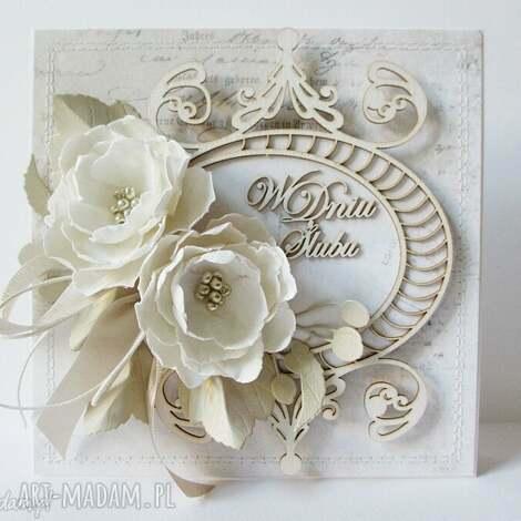 krem i biel - kartka w pudełku z kieszonką - ślub, gratulacje, życzenia