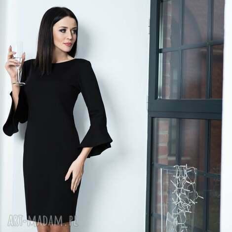 sukienki elegancka sukienka z ozdobną falbanką przy rękawie, model t161, czarny