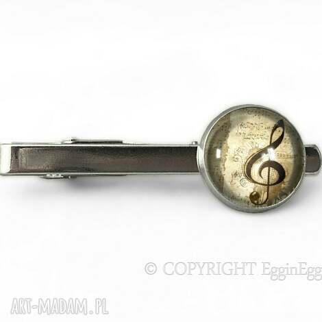 męska klucz wiolinowy - spinka do krawata, spinka, klucz