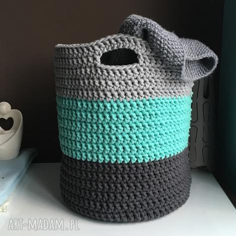 kosz ze sznurka bawełnianego 3 kolory duży, kosz, koszyk, przechowywanie