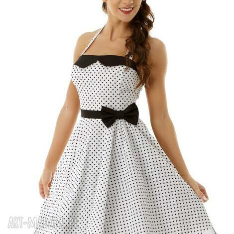 659b778798 sukienki piękna rozkloszowa sukienka pin up biała w groszki