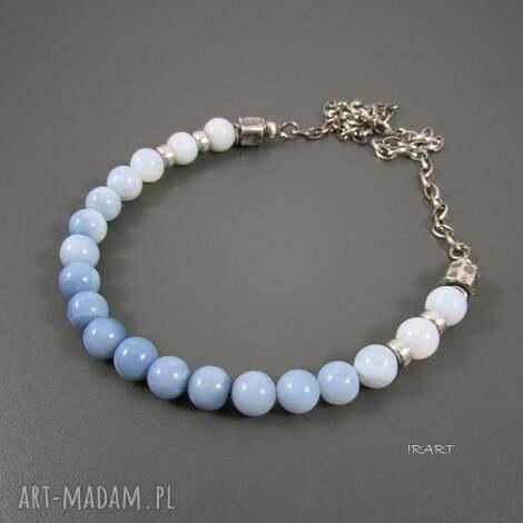 naszyjnik z niebieskiego opalu - opal, naszyjnik