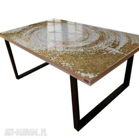 stoły white symphony - stół do jadalni ze złotą strukturą, stolik strukturalny