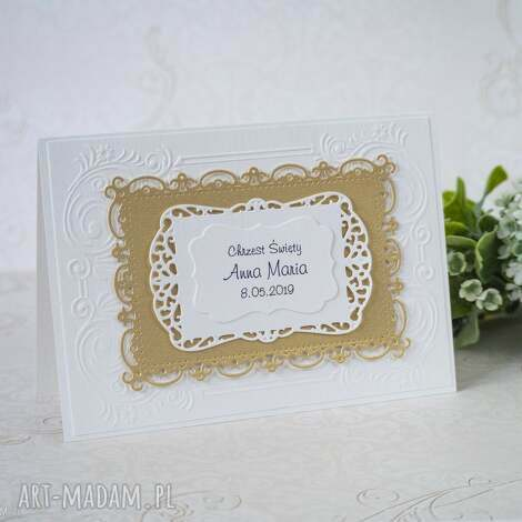 biala konwalia zaproszenie na chrzest - ramki, zaproszenie, chrzest, święty