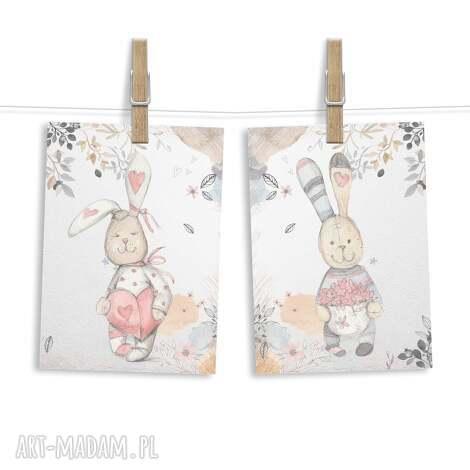zestaw 2 obrazków zajĄczki a3 - zajączki, zając, króliczek, królik