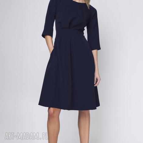 sukienka z rozkloszowanym dołem, suk122 granat, rozkloszowana, elegancka, casual