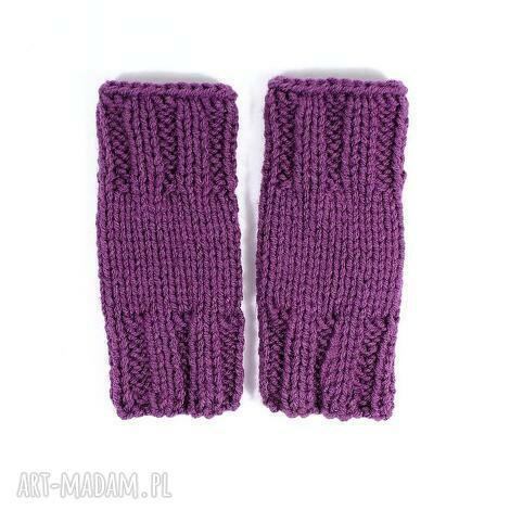 mitenki krótkie wrzosowe rękawiczki dziergane zima