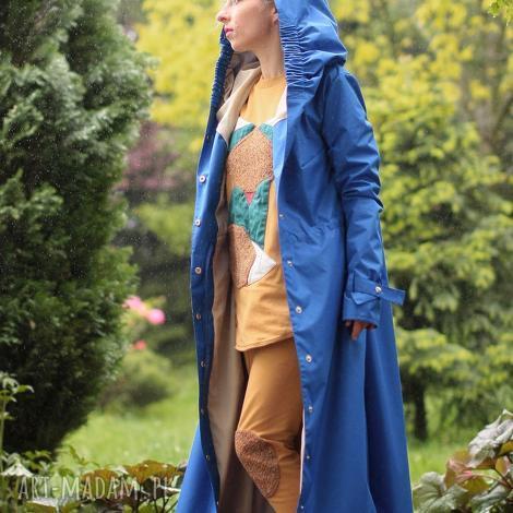 płaszcz przeciwdeszczowy chabrowy - długi, kaptur, wodoodporny, przeciwdeszczowy