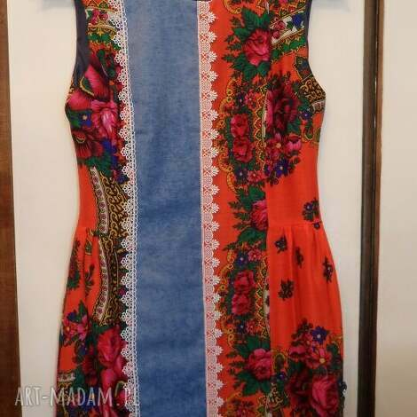 sukienki folk design sukienka - pomarańcz, sukienka, góralska, jeans, folk, design
