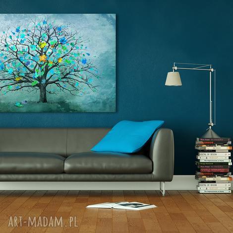 ludesign gallery, nowoczesny obraz do salonu drukowany na płótnie z drzewem, turkusowe drzewo