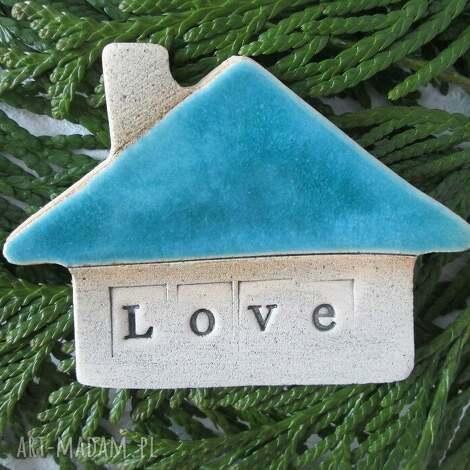 magnesy domek turkusowa miłość, dom, love, walentynki, ceramiczny