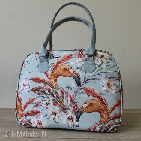 Torebki Niezwykle - kuferek - flamingi vintage - elegancka, pakowna, prezent kufer