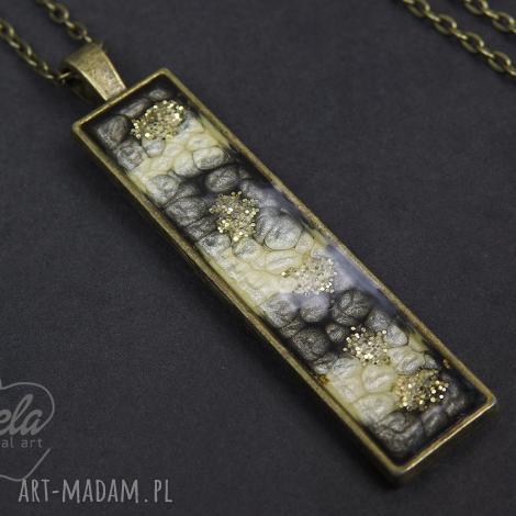 mela wisiorek z żywicy rectangle st złoto /0004, wisiorek, medalion, żywica