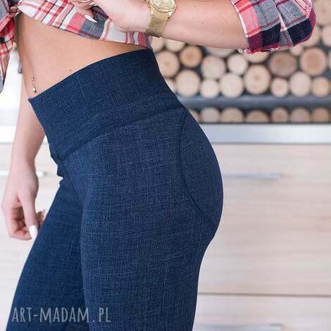 legginsy damskie dżinsowe modne spodnie z wysokim stanem push up sexy pupa l
