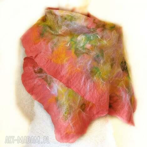 chustki i apaszki szal nuno ręcznie filcowana wełna, szal, nuno, filcowany