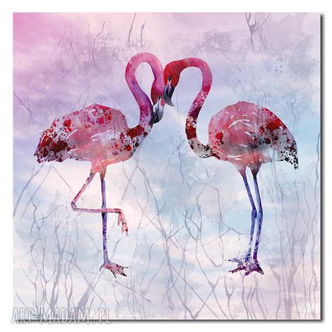 obraz xxl flaming 1 - 80x80cm na płótnie flamingi, obraz, ptaki dom