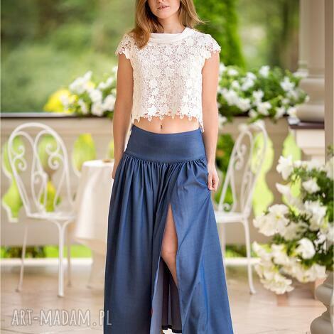 piękna dżinsowa maxi spódnica z pęknięciem rozm od 34 do 42, cleanclothes