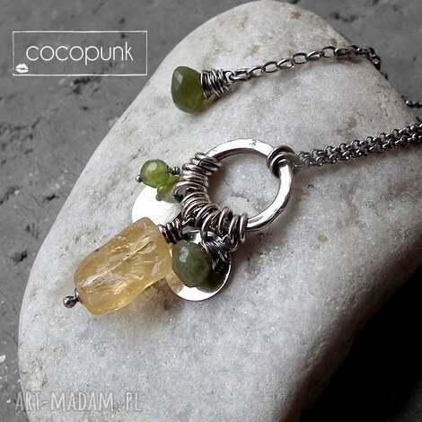 cytryn,vessonit,agat- srebrny naszyjnik z mineraŁami - z kamieniami, kolorowy, z