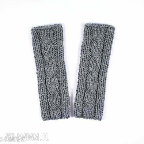 mitenki szare z warkoczem - mitenki, rękawiczki, warkocz, zima, jesień