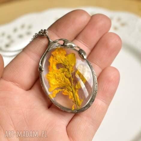 wisiorki yellow - naszyjnik z kwiatem w szkle, wisior kwiatem, polne kwiaty