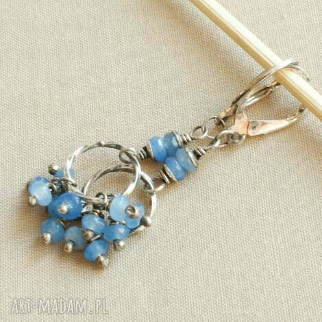 kolczyki ze srebra i błękitnego agatu, srebro, kobiece, delikatne, gronka