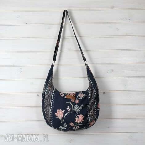 torba hobo na ramię boho , torebka, kwiaty, bawełna, pojemna, prezent, kolorowa